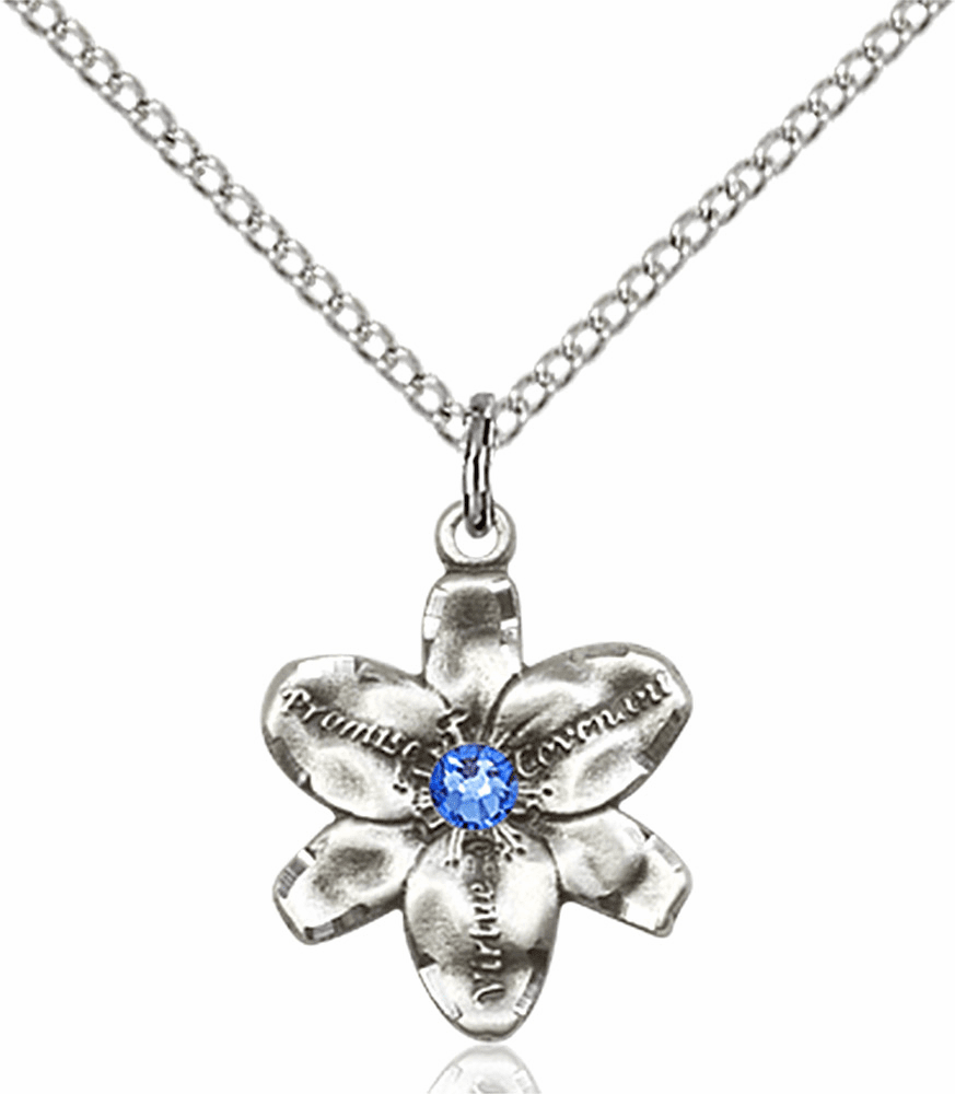 Chastity Flower September Sapphire Birthstone Crystal Sterling Silver Pendant by Bliss
