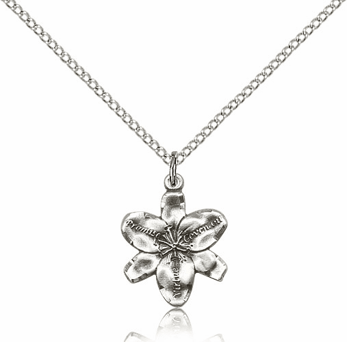 Chastity Virtue Flower Sterling Silver Pendant Necklace with Chain by Bliss