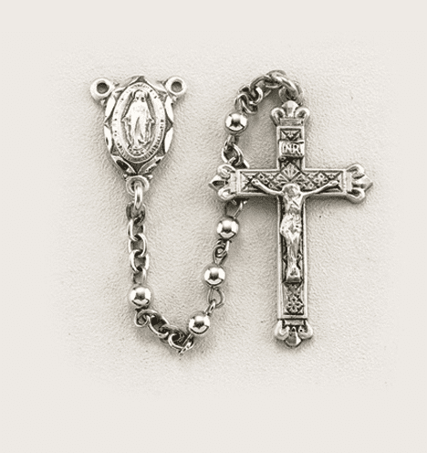 Child's Small Sterling Silver 3mm Round Prayer Rosary by HMH Religious