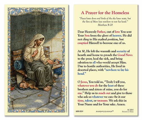 Christ Homeless Laminated Holy Prayer Cards by Gerffert
