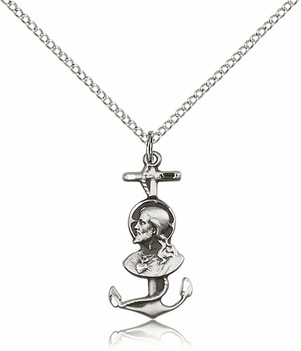Christ is My Anchor Sterling Silver Medal Necklace by Bliss Manufacturing