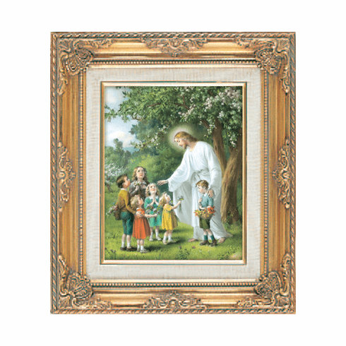Christ Jesus with Children under Glass w/Gold Framed Picture by Cromo N B