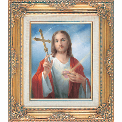 Christ Jesus with Cross under Glass w/Gold Framed Picture by Cromo N B Italy