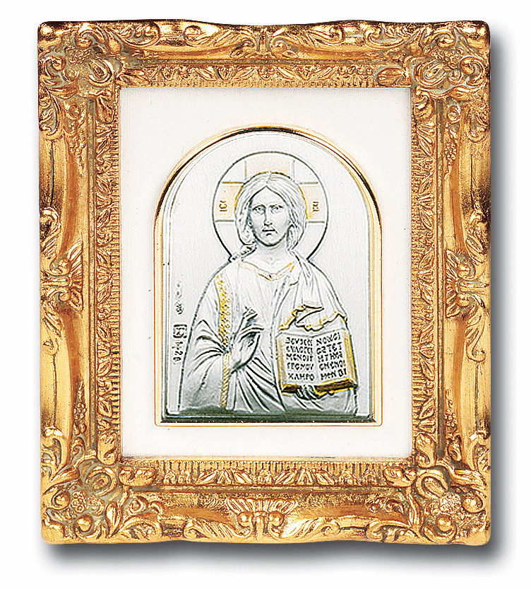 Christ the Teacher Sterling Silver Image w/Antique Gold Leaf Frame Picture by Salerni