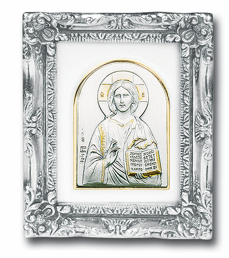 Christ the Teacher Sterling Silver Image w/Antique Silver Frame Picture by Salerni