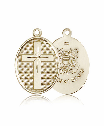 Christian Coast Guard Military 14kt Gold Cross Medal by Bliss