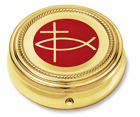 Christian Ichthus Eucharist Pyx with Gold Finished 3pc Sets by Stratford Chapel