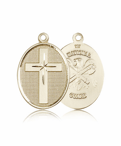 Christian US National Guard Military 14kt Gold Cross Pendant by Bliss