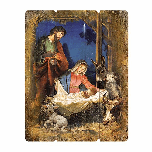 Christmas Holy Family Nativity Wood Pallet Sign by Gerffert