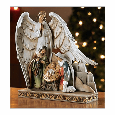 Christmas Nativity Figurine with Angel by Avalon Gallery