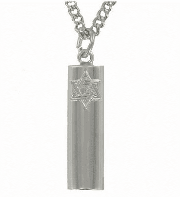Circular Mezuzah Sterling Silver Necklace with Star of David