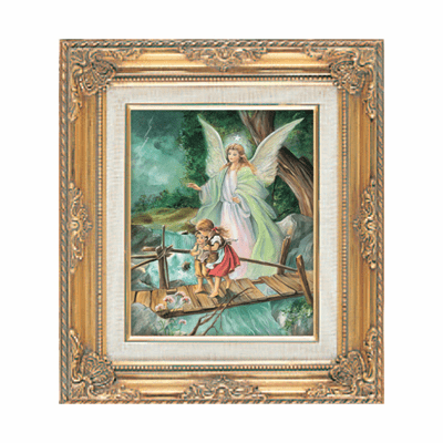 Classic Angel on Bridge under Glass w/Gold Framed Picture by Cromo N B Italy