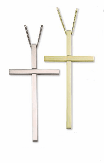 Clergy Gold or Silver Plated 4 inch Christian Cross with Chain by Singer