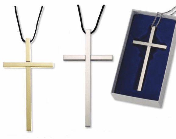 Clergy Gold or Silver Plated 4 inch Christian Cross with Leather Cord by Singer