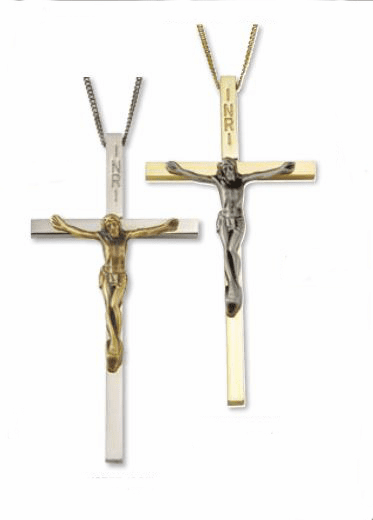 Clergy Gold or Silver Plated 4 inch Crucifix Cross with Chain by Singer