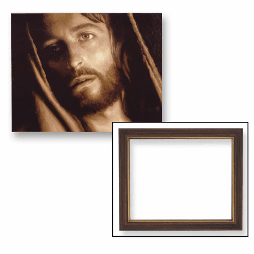 Close-up Head of Christ Framed Print Picture with Woodtone Frame by Gerffert