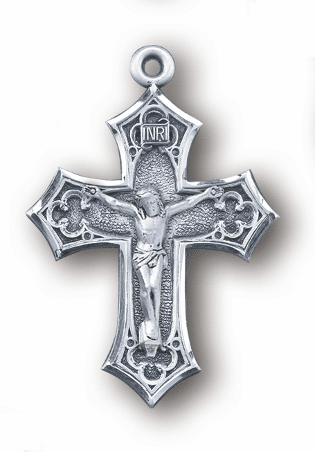 Clover Flared Tip Sterling Silver Crucifix Rosary Part by HMH Religious