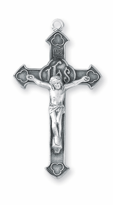 Clover Tip with IHS Sterling Crucifix Catholic Rosary Part by HMH Religious