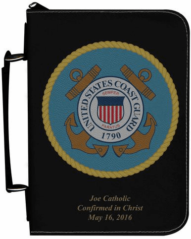 Coast Guard Military Personalized Black Catholic Bible Cover Case