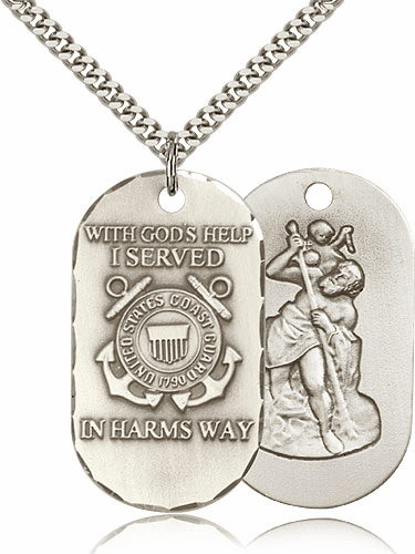 Coast Guard St Christopher Dog Tag Medal Necklace