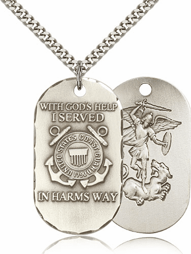 Coast Guard St Michael Dog Tag Medal Necklace