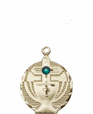 Communion 14kt Gold Chalice w/Emerald Birthstone Cross Necklace by Bliss Mfg