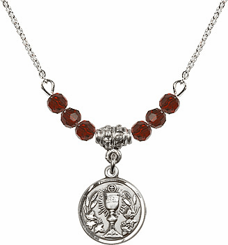 Communion Chalice Charm w/Crystal Beads Necklace by Bliss Mfg
