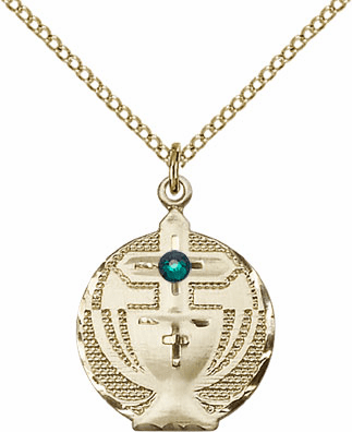 Communion Gold-filled Chalice w/Emerald Birthstone Cross Necklace by Bliss Mfg