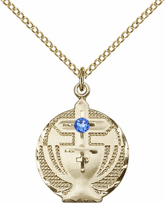 Communion Gold-filled Chalice w/Sapphire Birthstone Cross Necklace by Bliss Mfg
