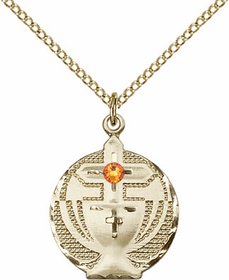 Communion Gold-filled Chalice w/Topaz Birthstone Cross Necklace by Bliss Mfg