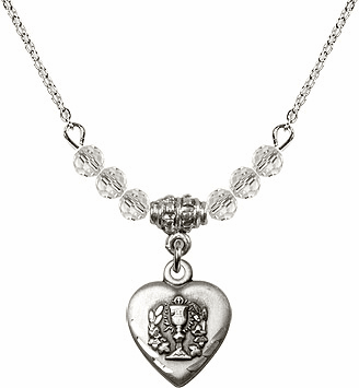 Communion Heart Chalice Charm w/Crystal Beads Necklace by Bliss Mfg