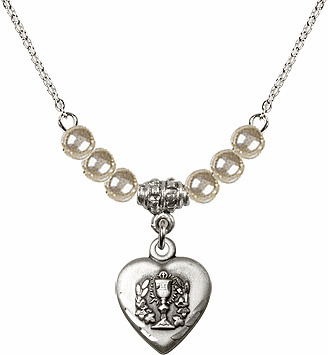 Communion Heart Chalice Charm w/Faux Pearl Beads Necklace by Bliss Mfg