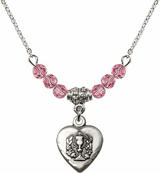Communion Heart Chalice Charm w/Rose Cystal Beads Necklace by Bliss Mfg