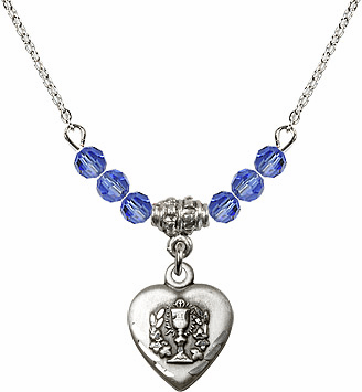 Communion Heart Chalice Charm w/Sapphire Cystal Beads Necklace by Bliss Mfg