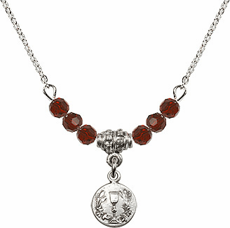 Communion Round Chalice Charm w/Garnet Crystal Beads Necklace by Bliss Mfg