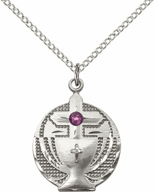 Communion Sterling Silver Chalice w/Amethyst Birthstone Cross Necklace by Bliss Mfg