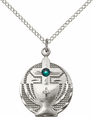 Communion Sterling Silver Chalice w/Emerald Birthstone Cross Necklace by Bliss Mfg