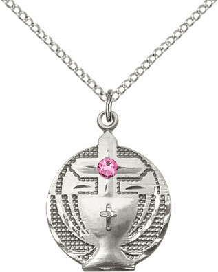 Communion Sterling Silver Chalice w/Rose Birthstone Cross Necklace by Bliss Mfg