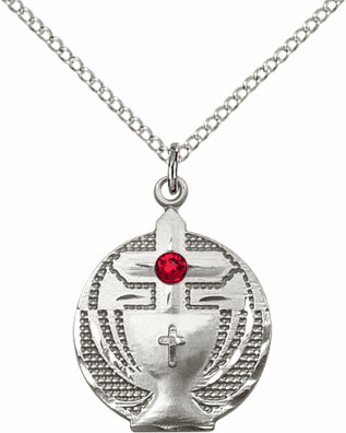 Communion Sterling Silver Chalice w/Ruby Birthstone Cross Necklace by Bliss Mfg