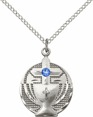 Communion Sterling Silver Chalice w/Sapphire Birthstone Cross Necklace by Bliss Mfg