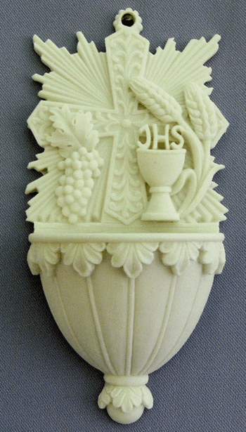 Communion White Alabaster Holy Water Font