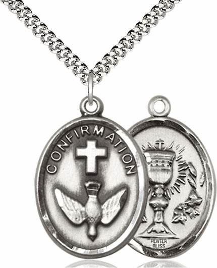 Confirmation with Chalice Pewter Patron Saint Necklace by Bliss