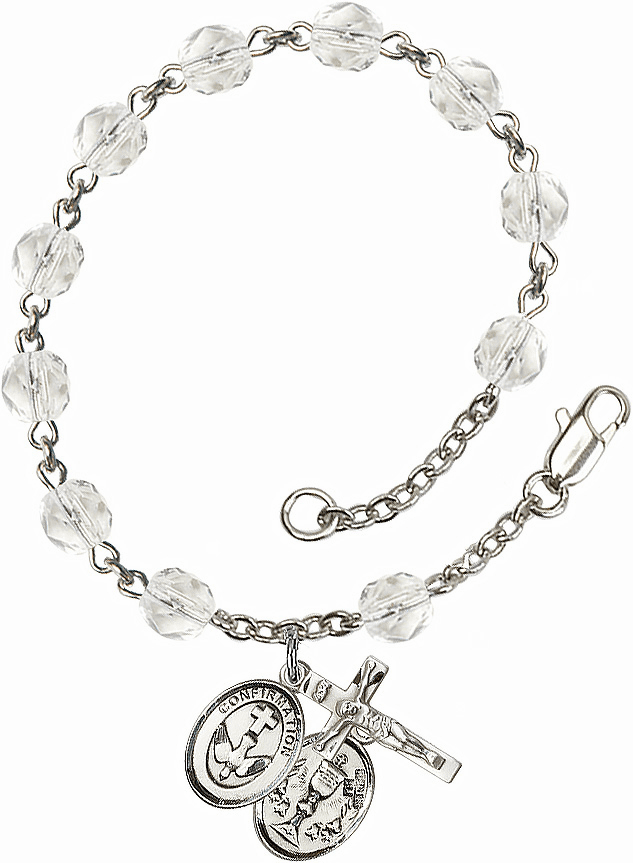 Confirmation Chalice Silver Plate April Birthstone Rosary Bracelet by Bliss