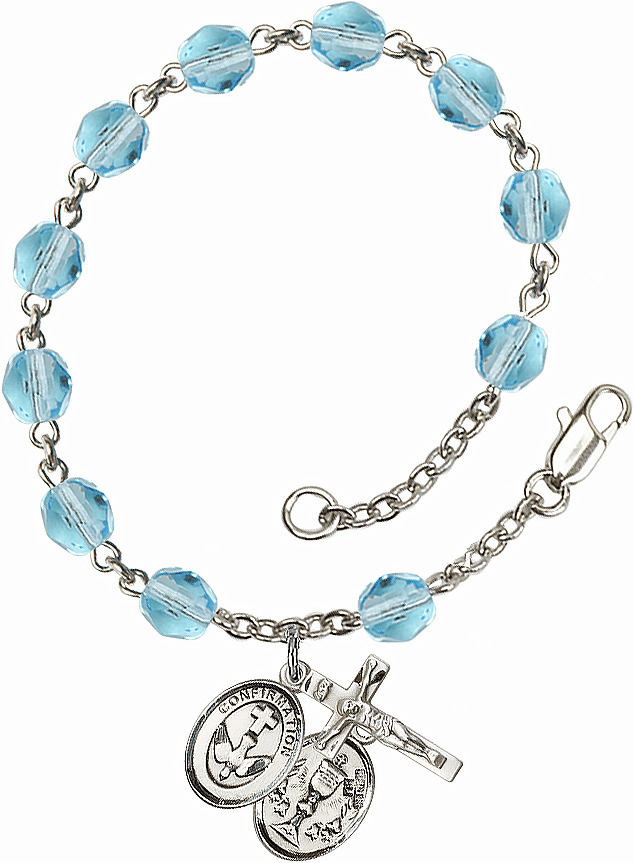 Confirmation Chalice Silver Plate Aqua Birthstone Rosary Bracelet by Bliss