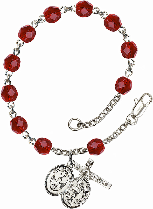 Confirmation Chalice Silver Plate July Birthstone Rosary Bracelet by Bliss