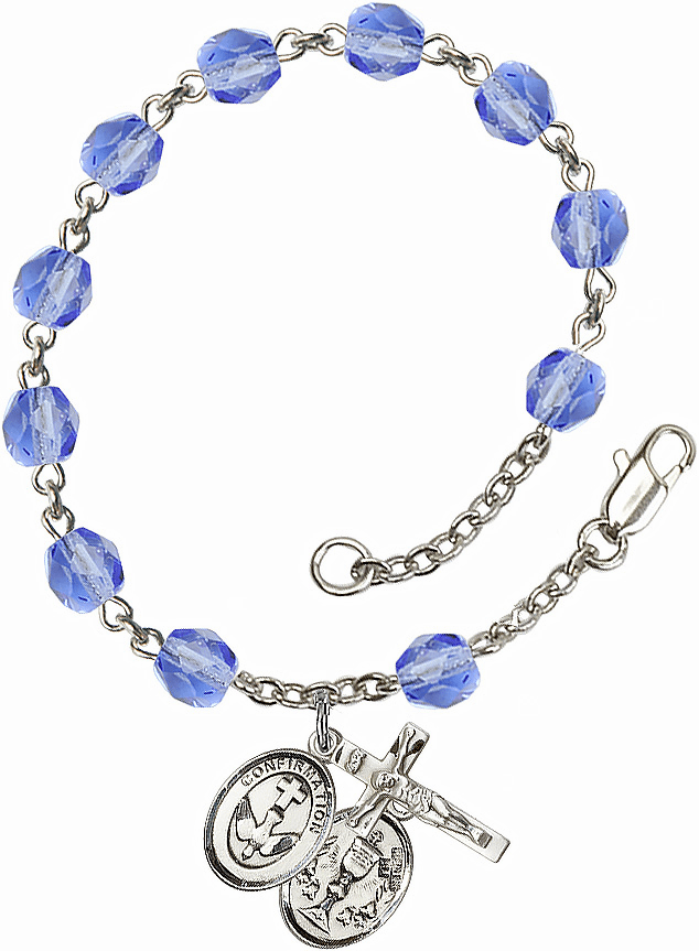 Confirmation Chalice Silver Plate Sapphire Birthstone Rosary Bracelet by Bliss