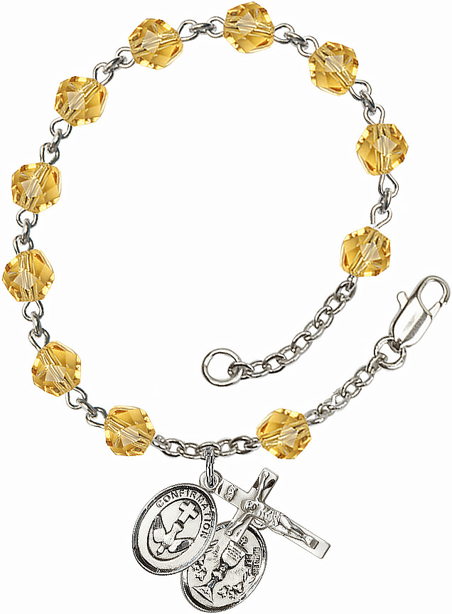 Confirmation Chalice Silver Plate Topaz Birthstone Rosary Bracelet by Bliss