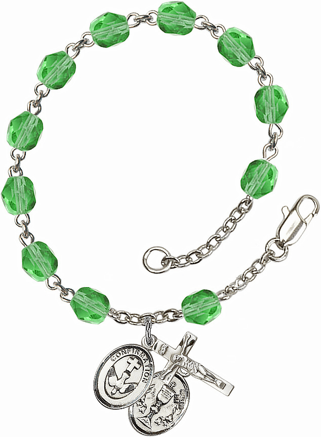 Confirmation Chalice Silver Plate Peridot Birthstone Rosary Bracelet by Bliss