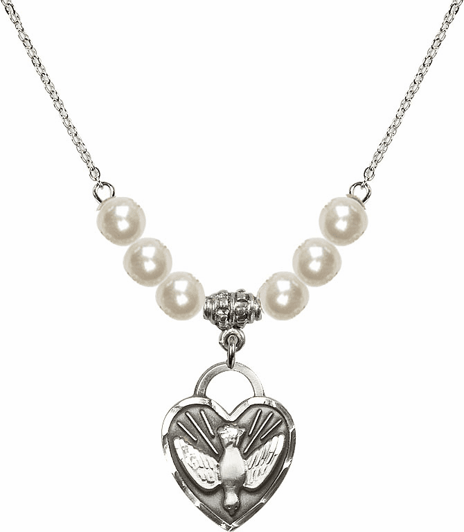 Confirmation Heart 6mm Faux Pearls Necklace by Bliss Mfg