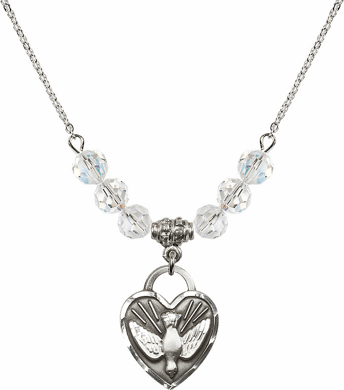 Confirmation Heart April 6mm Swarovski Crystal Necklace by Bliss Mfg
